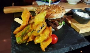 Blue bar burger
