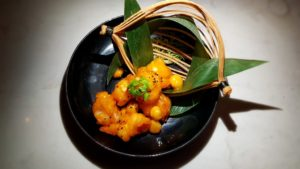 Fried golden tiger prawn in orange dressing (with macadamia nut)